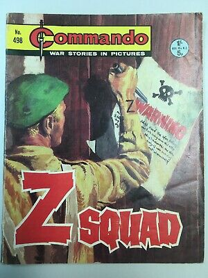 "Commando Comic # 498 from 1970  ""Z Squad""   Very Good Condition"