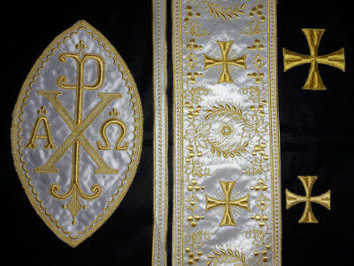 Orphrey Cross Design Embroidered Banding A&O Chi Rho Patch Gold on Silky Satin