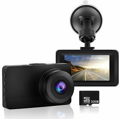 """Dash Cam 1080P HD Car Dashcam Camera and SD Card Included 3.0"""" Screen WDR 170° W"""