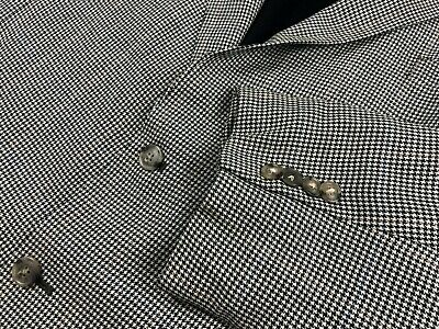 Jos A Bank WOOL SILK Houndstooth Plaid Sport Coat Suit Jacket Mens 50 R Blazer
