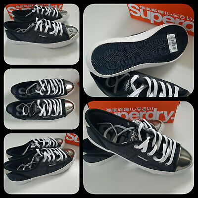 Superdry Low Pro Luxe Women Sneakers Shoes Trainers Washed Black UK 6 EUR 39