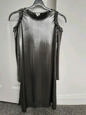 Gorgeous Girls Silver Metalic Dress Age 11-12 Years From River Island Worn Once