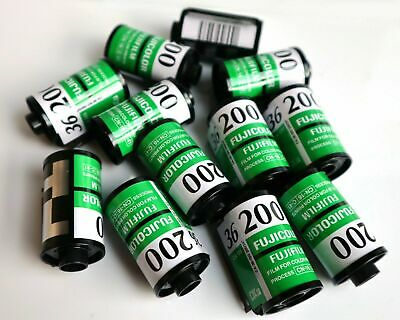 12 x Fuji C200 35mm Empty cartridges cassettes with tail.