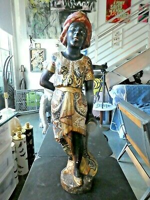 19Th C Italian Venetian Hand Carved Wood Blackamoor Figure
