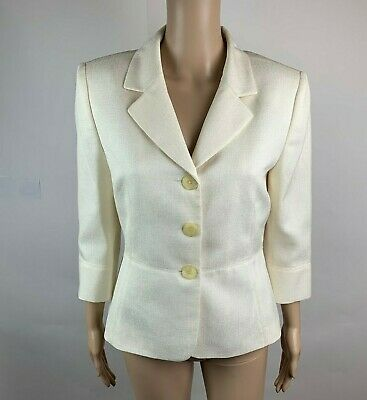Tahari by ASL Womens Size 12P Petite Blazer Ivory 3/4 Sleeve Textured Career