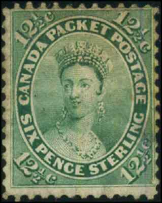 Canada #18 used F 1859 First Cents 12 1/2c yellow green Queen Victoria