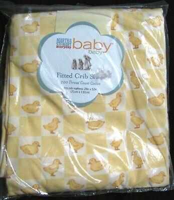 New Martha Stewart Yellow Baby Duck Checkered Crib Fitted Sheet Cotton Vintage