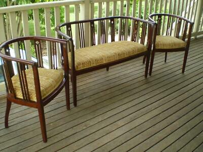 Vintage antique 3 pc parlour set bentwood frame upolstered seats timber features