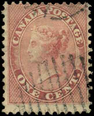 Canada #14 used VG-F 1859 First Cents 1c rose Queen Victoria CV$30.00