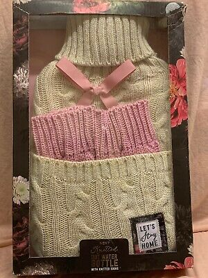 Next Knitted Hot Water Bottle & Socks Set Pocket Let's Stay Home Cream Gold Pink