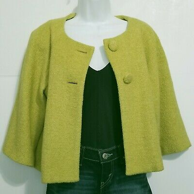 SPENSE Cropped Swing Jacket Chartreuse Green Wool Blend 3/4 Sleeve Lined Size S