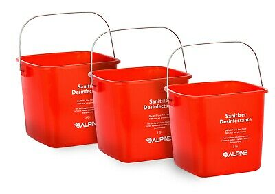 Alpine Industries Red 3 Quart Plastic Cleaning Pail Water Mop Bucket 3 Pack