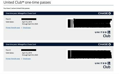 United Club Lounge Passes 2 Passes Expires 4/23/20. E-Delivery