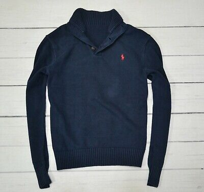 POLO by RALPH LAUREN Mens Jumper Half Casual Knitted Cardigan Navy Size Large
