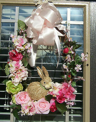 Spring Easter Pink Wreath Oval Grapevine Flowers Bunny