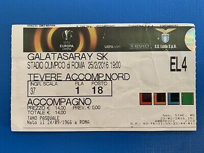 Biglietto Stadio Ticket Lazio-Galatasaray Europa League 2015/'16