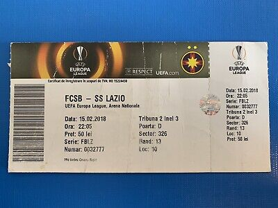 Biglietto Stadio Ticket Steaua Bucarest-Lazio Europa League 2017/'18