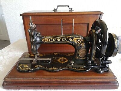 Singer 12k Fiddle Base Hand Crank Sewing Machine Vintage Antique