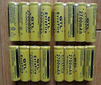 14500 3.7V 2700mah Size AA Rechargeable Batteries Long Life HEAVY DUTY Buttoned