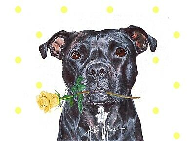 AD-SBT2RPW Brindle Staffie with Rose Glass Paperweight in Gift Box Christmas Pr