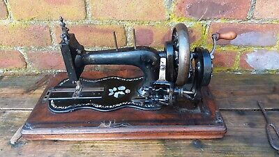 Antique Bradbury ? Handcrank Sewing Machine Fiddle Base mother of pearl inlay