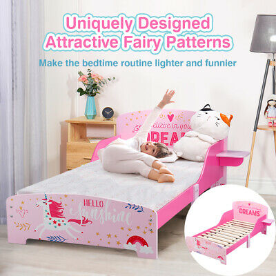 Toddler Kids Bed Children Pink Princess Girls Cot Bed Frame Bedroom Furniture