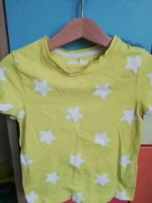 Marks and spencer Girl Yellow Star Shorts And T-shirt Pj's Nightwear 3-4 Years