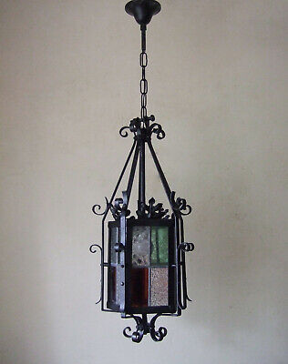 ANTIQUE FRENCH Classic iron and stained glass lantern chandelier hall light