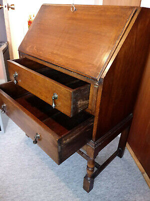 "Maples Antique Oak lockable writing Bureau- Arts & Crafts style by ""Maple & Co"""