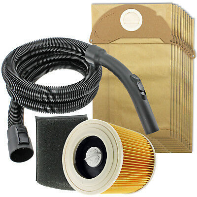 2m Hose Handle Filters + 10 Bags for KARCHER Wet & Dry A2004 A2054 A2064 MV2