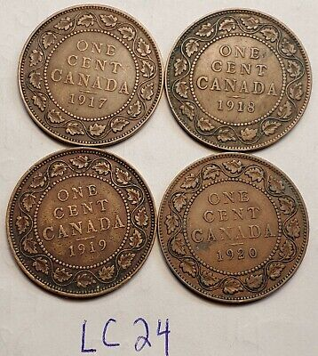 1917,1918,1919,1920  Canada Large Cent Penny King George V Lot of 4 Coins LC24b
