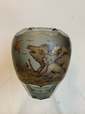 910358 Grey With Satin Panel Moser Vase Pensketch Boar & Dogs, Trees, Gold Decor