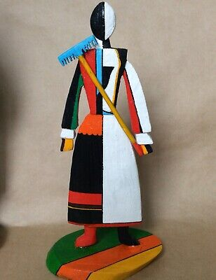 Malevich Inspired solid wood hand carved woman Small figure Russian