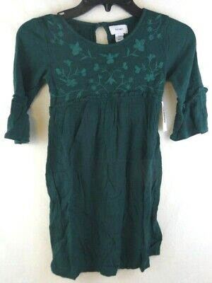 Old Navy Girls Small 6-7 Green Floral Embroidered Dress 3/4 Sleeve NWTags