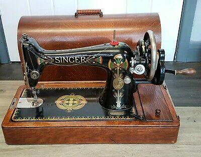 Antique Vintage Singer Hand Crank Sewing Machine Bentwood Case & Keys Working.