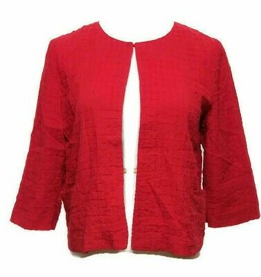 Chicos Womens Bolero Jacket Sz Small Red Cropped Textured Lined 3/4 Sleeve