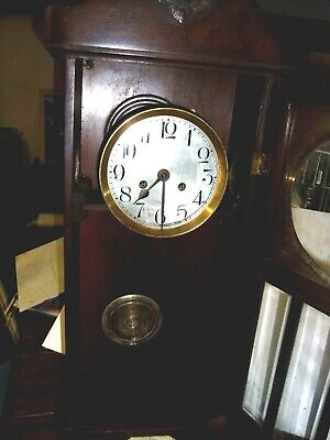 Antique  Large Wooden Wall Clock With Original Key And Pendulum For Restoration