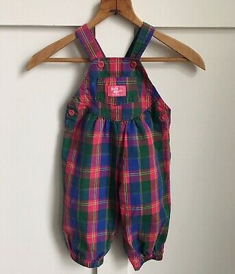 Vintage Pink Plaid OshKosh Vestbak Bubble Romper Overalls Girl 18 Months