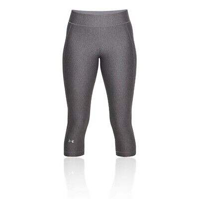 Under Armour Womens Heatgear Capri Pants Bottoms Tights Trousers - Grey Sports