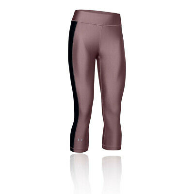 Under Armour Womens Heatgear Capri Pants Bottoms Tights Trousers - Black Pink