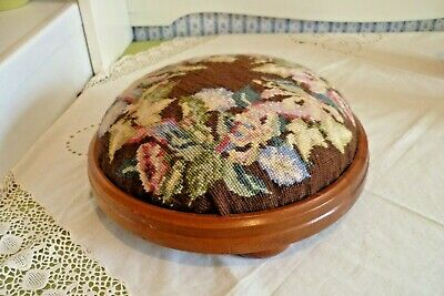 Small Vintage Wooden Footstool With Needlepoint Cover & Bun Feet