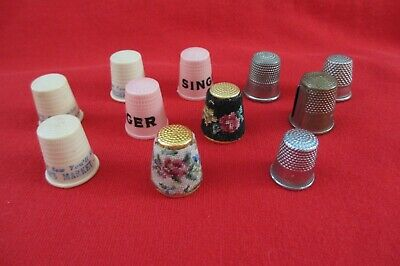 Lot 11 Vintage Thimbles Advertising, Needlepoint, Germany, England Silver & Gold