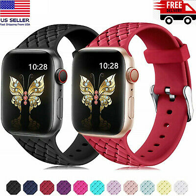 Slim Silicone woven apple watch band Strap iWatch Series 1/2/3/4 38/40 42/44mm