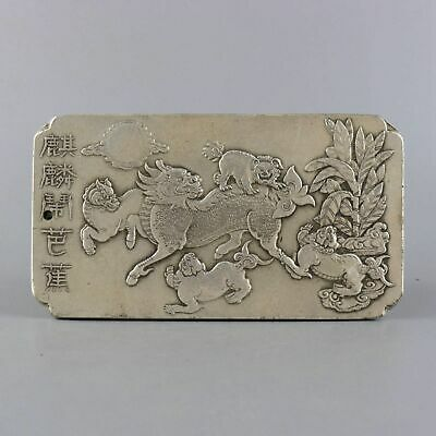 Collect  Old Miao Silver Carved Five Kylin & Sun & Tree Moral Exorcism Pendant