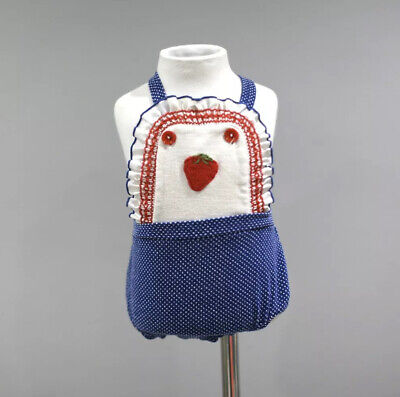 Vintage Baby Romper Sunsuit 6 9 Months Blue Polka Dots Strawberry  A