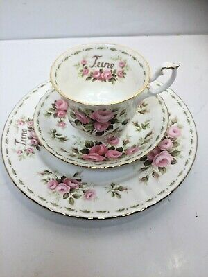 Royal Albert Flower Of The Month Series June Roses Bone China Cup Saucer Plate