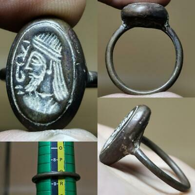 Near Eastern Old Beautiful King Seal Brass Beautiful Ring  # 130