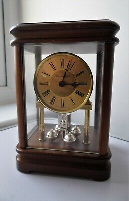 Vintage German Made Schmeckenbecher Dark Wood & Brass Torsion Pendulum Clock