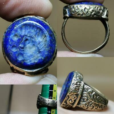Wonderful emperor Face Seal  Old lapis stone Beautiful Ring   # 130