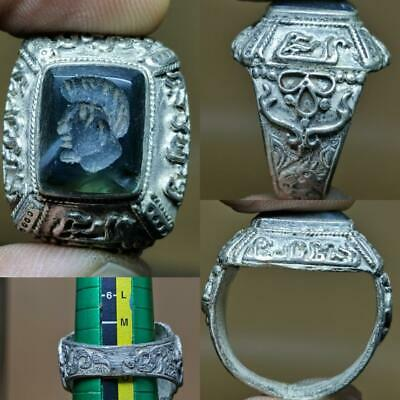 Near Eastern Old jade stone King face intaglio stone Wonderful Ring  # 130